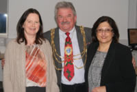 The Mayor with Nasim (right) and Geraldine (left), one of the regular pharmacist at Fields Pharmacy.